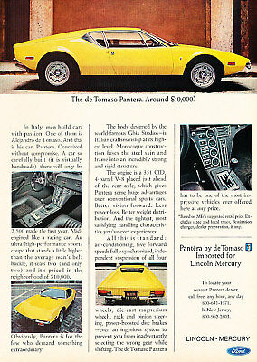 1972 Yellow DeTomasp Pantera Vintage Advertisement Ad