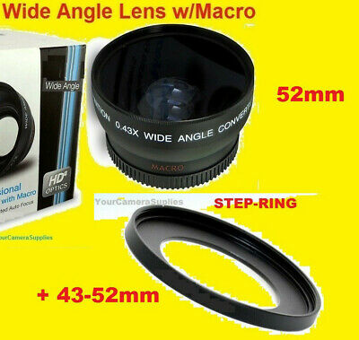 0.43x WIDE ANGLE LENS 43mm-52mm to Camera Camcorder DMC-G1 M40 M41 M406 M46 JVC