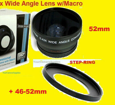 0.43x 0.45x WIDE ANGLE LENS 46mm/52mm  to JVC GZ-HD7 HD3 MG575 M555 46/52 mm