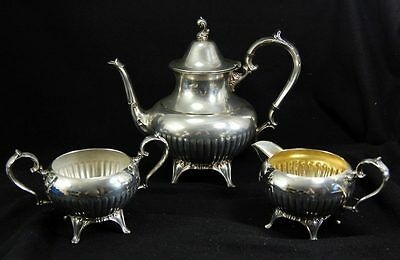 Antique Silverplate William WM A Rogers Teapot Creamer Sugar Set