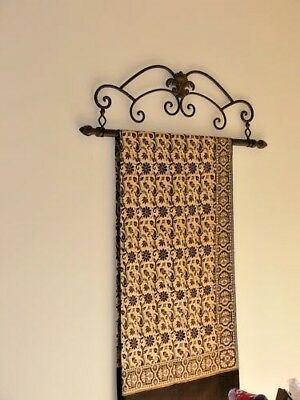 Antique FRENCH  style tapestry holder frame wrought iron large 2 RODS NEW