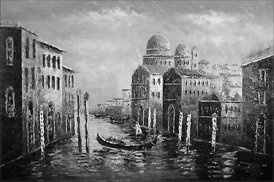 Quality Hand Painted Oil Painting Venice Waterway Black/White 24x36in