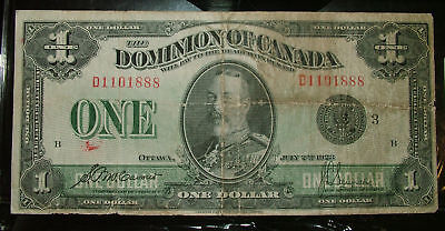 $1 1923 DOMINION OF CANADA SCARCE DC-25m Number 3 To RIGHT of SEAL