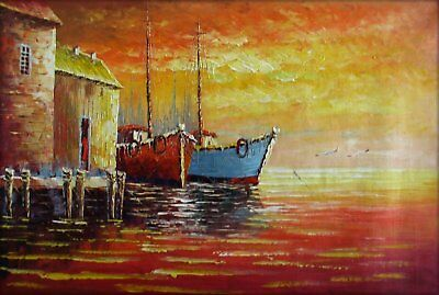 Quality Hand Painted Oil Painting Impression Fishing Boats  24x36in