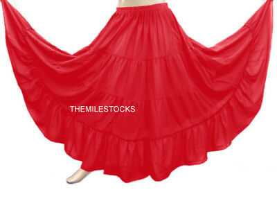 TMS Red 4 Tier Skirt Belly Dance Tribal Gypsy 25 Colors
