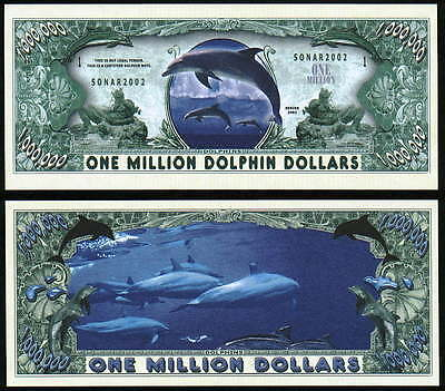 Dolphins Million Dolphin Dollar Novelty- Lot Of 2 Bills