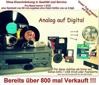 videokassetten berspielen alle formate hi8 video8 digital8 vhs super8 minidv eur 1 00. Black Bedroom Furniture Sets. Home Design Ideas
