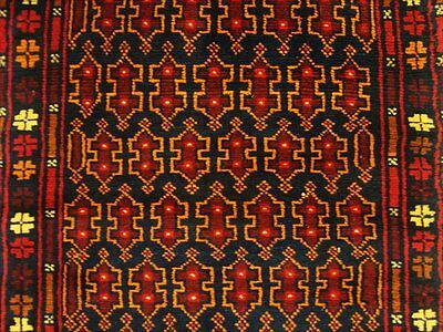 BALAUCHI TRIBAL NOMADIC AFGHAN HAND KNOTTED RUG 4.5x2.9