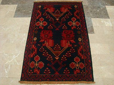 BALAUCHI TRIBAL NOMADIC AFGHAN HAND KNOTTED RUG 4.4x2.9