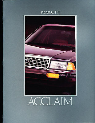 1992 Plymouth Acclaim Deluxe Sales Brochure Book