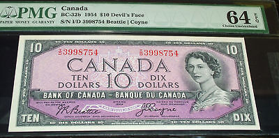 1954  $10 Bank of Canada  Devil's Face  PMG 64
