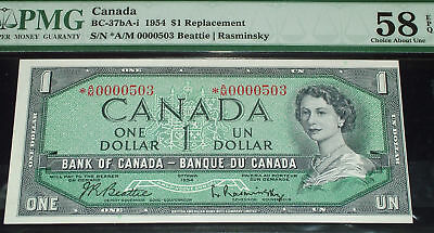 1954  $1 Bank of Canada *AM 503 low serial   PMG 58 EPQ