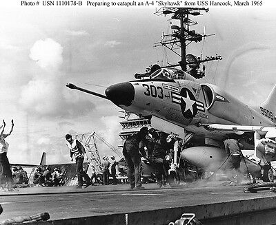 USS HANCOCK CVA19, A-4C SKYHAWK LAUNCH '65 8X10 PHOTO