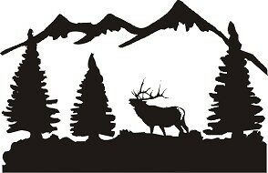 ELK and MOUNTAIN Scene SILVER Decal bow hunt antler