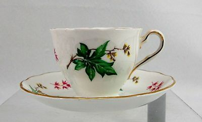 VTG Crown Essex England Bone China Cup & Saucer Red Green Leaves Yellow Flowers