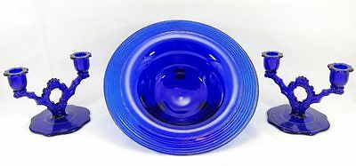 Beaumont Cobalt Blue Glass 3pc Console Set Sterling Overlay Double Candle Holder