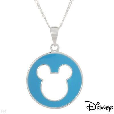 DISNEY Authentic Mickey Mouse Necklace in Blue Enamel & 925 Sterling Silver