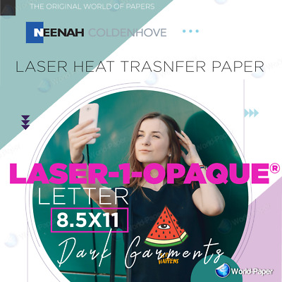 "Laser Iron-On Heat Transfer Paper - For Darks 50 Sh Neenah 1 Opaque 8.5"" x 11"""