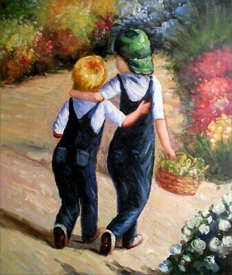 Quality Hand Painted Oil Painting Little Friends 20x24in