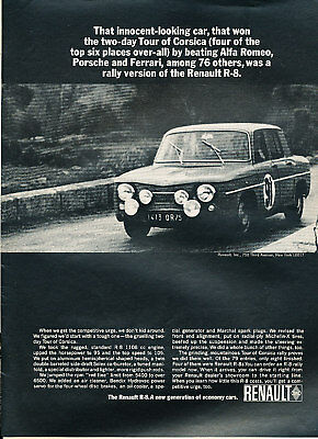 1965 Renault R-8 Gordini Rally 1108cc R8 Classic Advertisement Ad