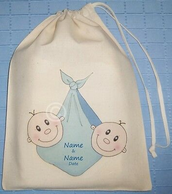 Personalised Twin Baby Boys Cotton Drawstring Bag