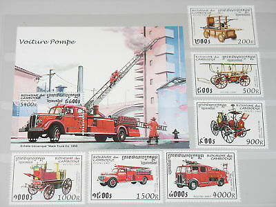 Cambodia 1997 1690-95 Block 226 Fire Fighting Cars MNH