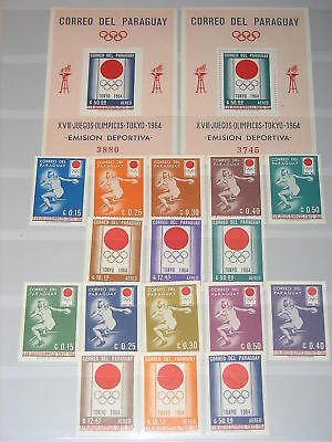 PARAGUAY 1964 1265-80 Block 50-1 791-98a Olympics Tokyo Discus Diskuswerfen MNH
