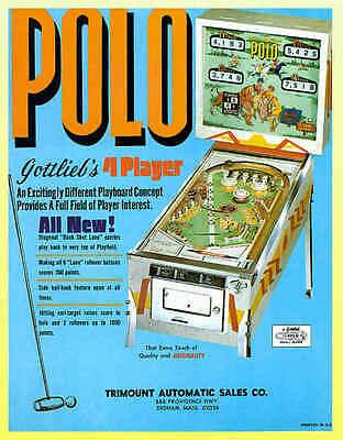 POLO 1970 Gottlieb Pinball Advertising Flyer MINT!