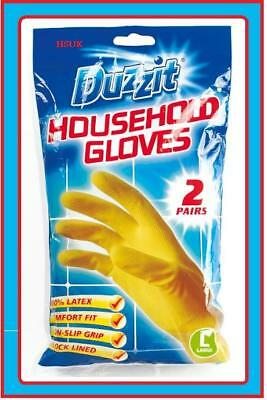 Large Rubber 2 Pairs Household Gloves Latex Cleaning Water Proof Washing Up