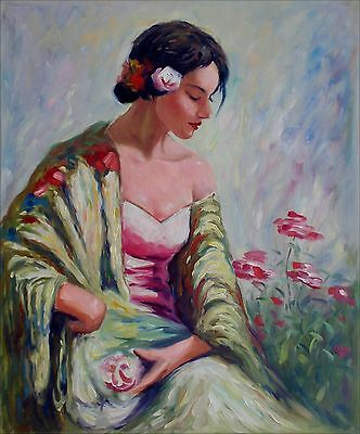 Quality Hand Painted Oil Painting Seated Lady with Flowers 20x24in