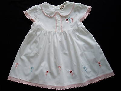 New White and Pink Cotton Party Summer Dress 12-18 M