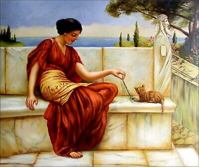 Hand Painted Oil Painting Repro John William Godward The Favorite 20x24in