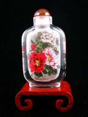 Peking Glass Gorgeous Flower Large Snuff Bottle & Stand