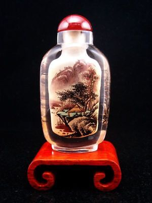 Peking Glass Trees Mountains Reverse Hand Painted Large Snuff Bottle & Stand