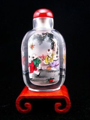 Peking Glass Boys Playing Reverse Hand Painted Large Snuff Bottle & Stand