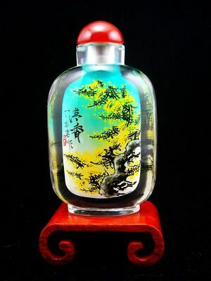 Peking Glass Trees & Flowers Reverse Hand Painted Large Snuff Bottle & Stand