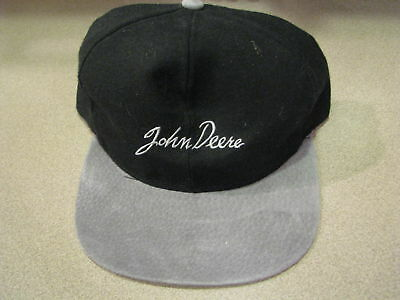 John Deere Autograph Black Leather Advertising Promotional Baseball Hat NEW