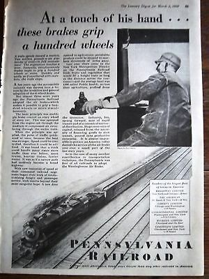 1929 Pennsylvania Railroad Touch of His Hand Ad