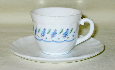 French Milk Glass Blue Floral Child's Cup & Saucer