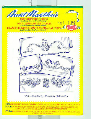 Aunt Martha's Hot Iron Transfers 3742 His Hers Flowers