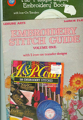 3 Embroidery Booklets Leisure Arts Leaflet 61 Boye 7308