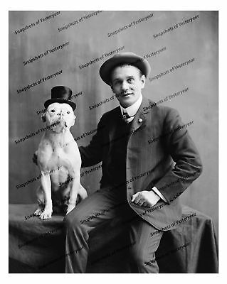 Vintage photo-Man and his dog wearing hats-8x10 in.