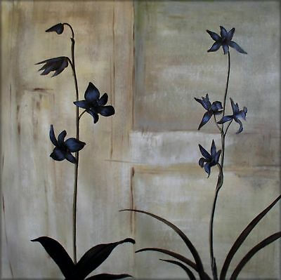 Ex. Large Modern Hand Painted Oil Painting 30x30in Orchids Series 8