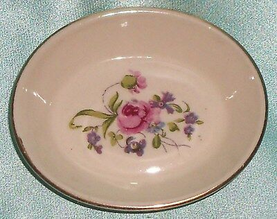 ~ Collectable ~ Small Gold Rim Floral Dish ~ Vintage ~