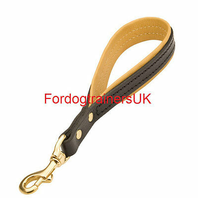 New short strong leather dog lead UK,  12 inch  L8