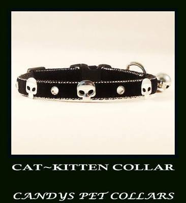 BLACK VELVET SKULLS & CRYSTALS CAT-KITTEN COLLAR 9 Inch With Bell