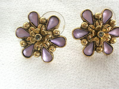 Gilt Metal,Mauve Flower, Earrings