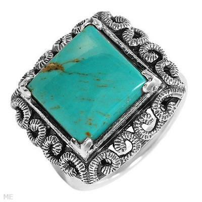 Lovely Large Ladies Ring W/Genuine Turquoise in 925 Sterling Silver Size 6