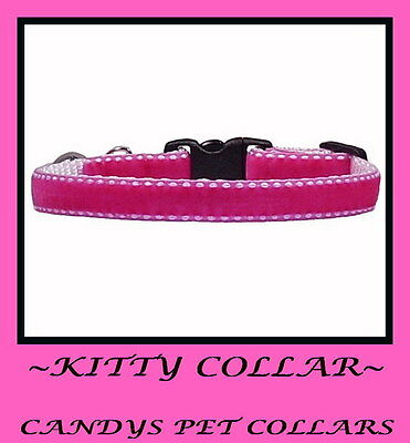 "Pink Velvet Cat ~ Kitten Collar 9"" Bell & Charm"