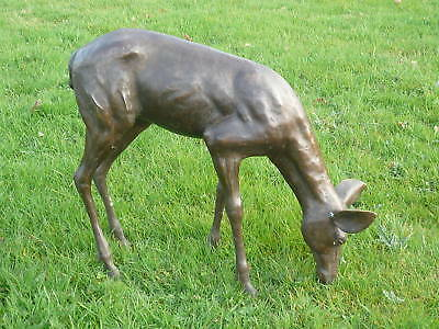 Bronze Fawn or Baby Deer Grazing Bronze Deer Sculpture Roe Deer Fawn